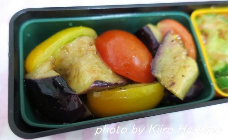 お弁当、2016-7-12、なすとトマトのマリネサラダ