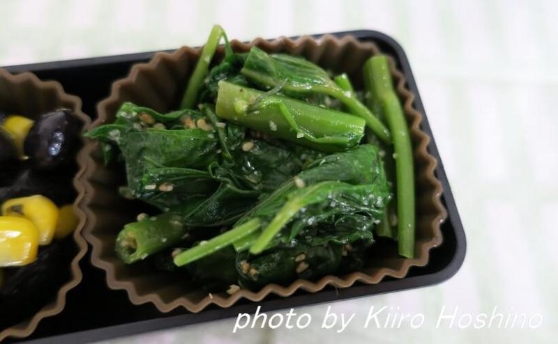 お弁当、2016-7-27、空芯菜ナムル