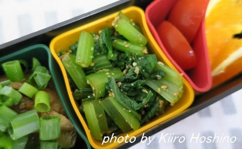 お弁当、2016-8-18、小松菜のおひたし