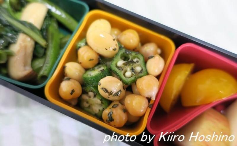 お弁当、2016-9-14、オクラの、豆サラダ