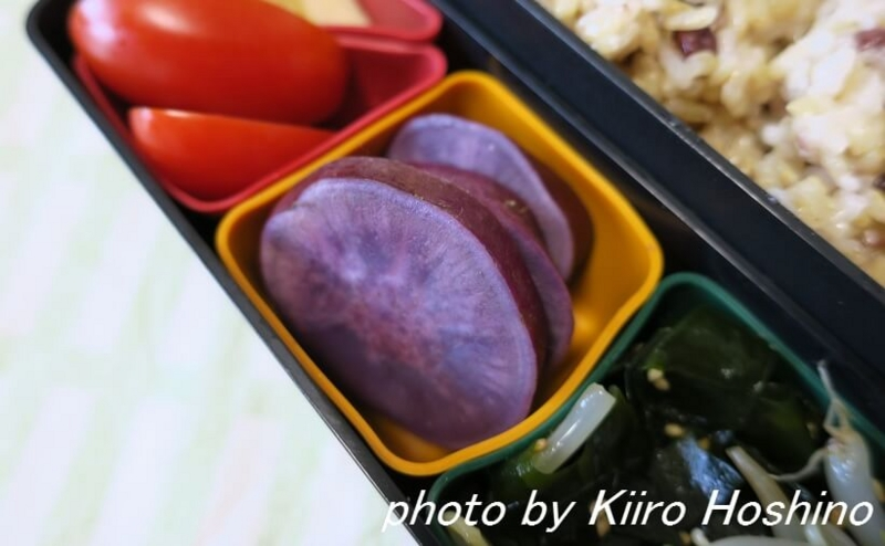 お弁当、2016-10-7、蒸し紫芋
