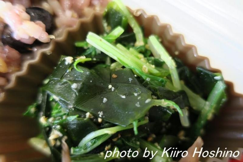 お弁当、2016-12-8、水菜とわかめの中華和え